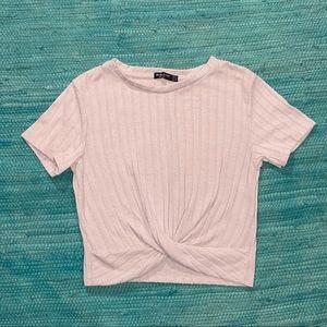 ASOS | Bershka twist front crop top w/ cap sleeves